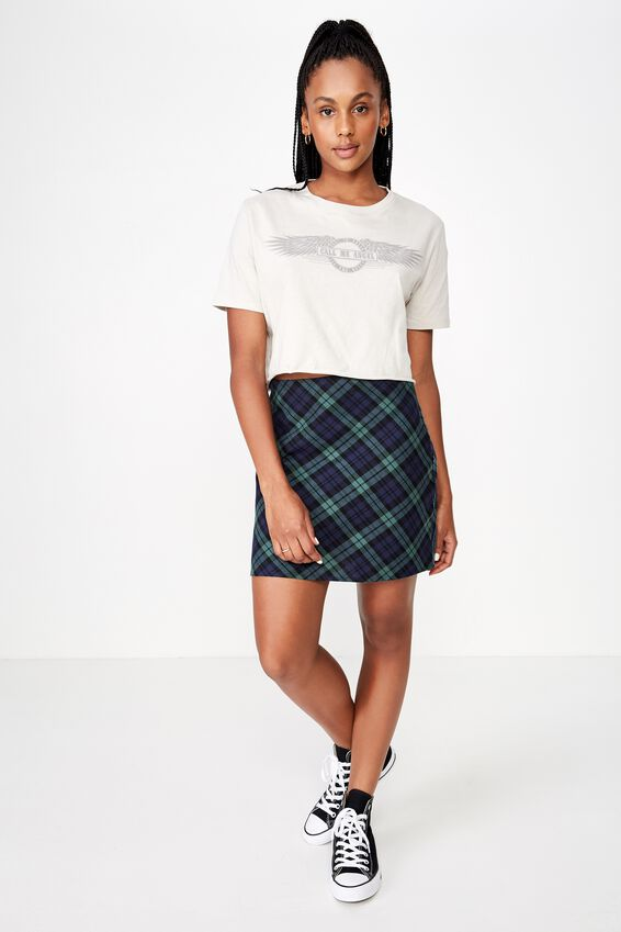 A Line Check Skirt, JANA CHECK BIAS_ BISTRO GREEN