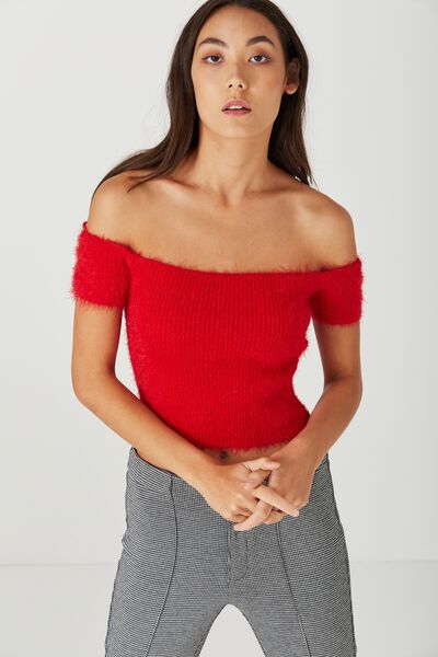 Madison Short Sleeve Knit, MELROSE RED