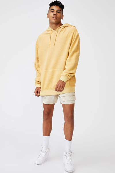 Reverse Fleece Hoodie, WASHED CHALK YELLOW