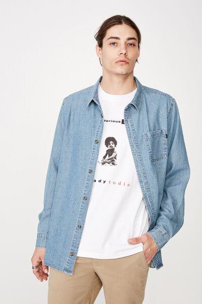 Long Sleeve Denim Shirt, MID BLUE