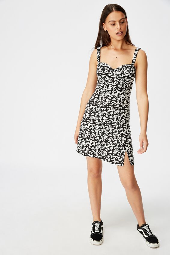 Sweetheart Mini Dress, TAYLOR DITSY BLACK