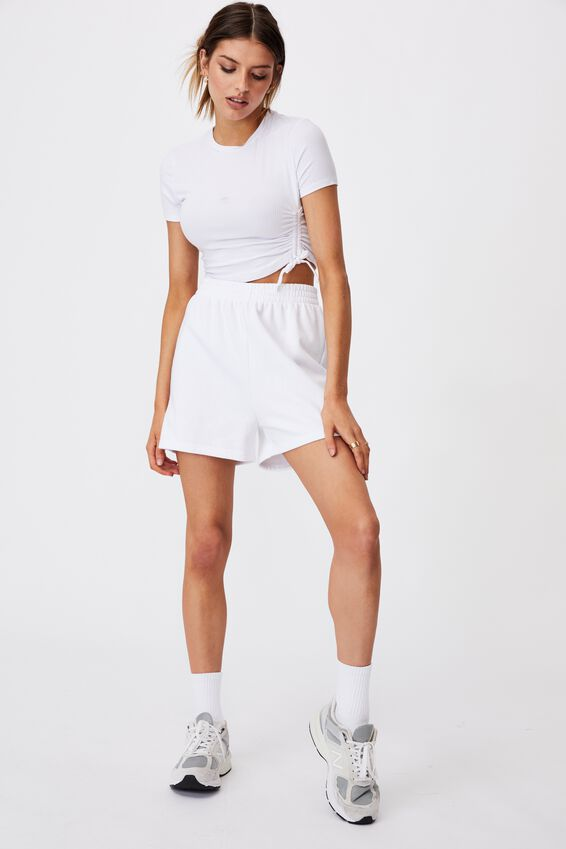 Ruched Short Sleeve Top, WHITE