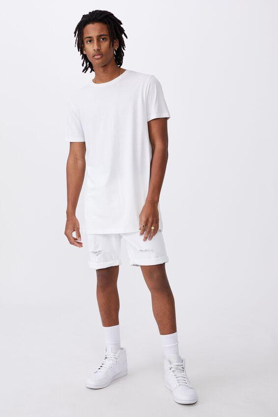 Slim Cut Denim Short, WHITE