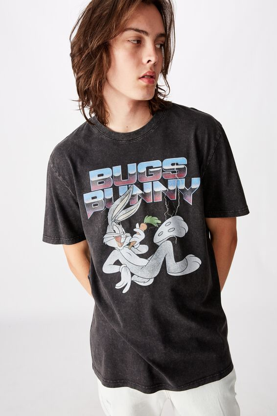 Regular License T Shirt, WASHED BLACK BUGS BUNNY