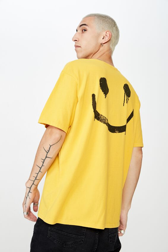 Graphic Washed T Shirt, GOLDEN ROD/SPRAY SMILE