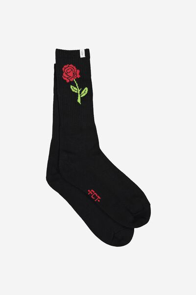 Retro Ribbed Socks, BLACK ROSE