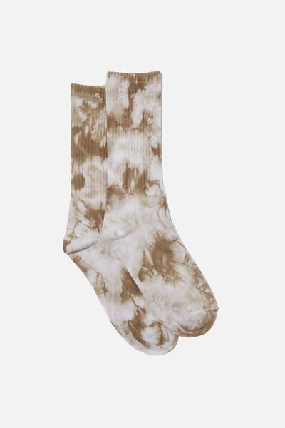 Retro Ribbed Socks, WHITE/KHAKI TIE DYE