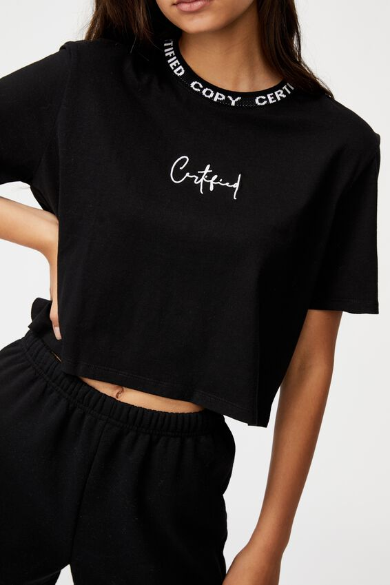 Short Sleeve Crop Graphic T Shirt, BLACK/CERTIFIED