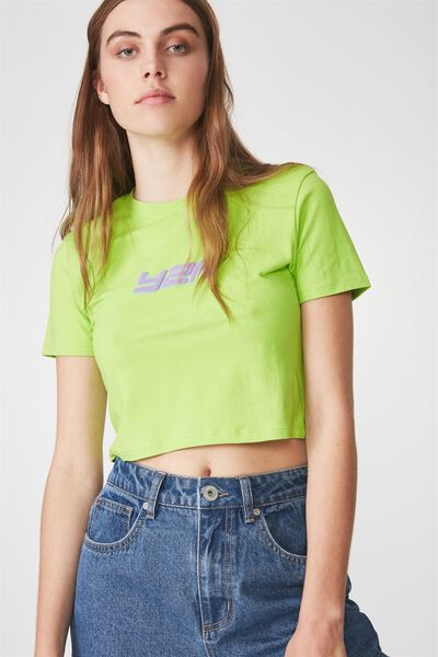 Fitted Graphic T Shirt, LIME GREEN_Y2K