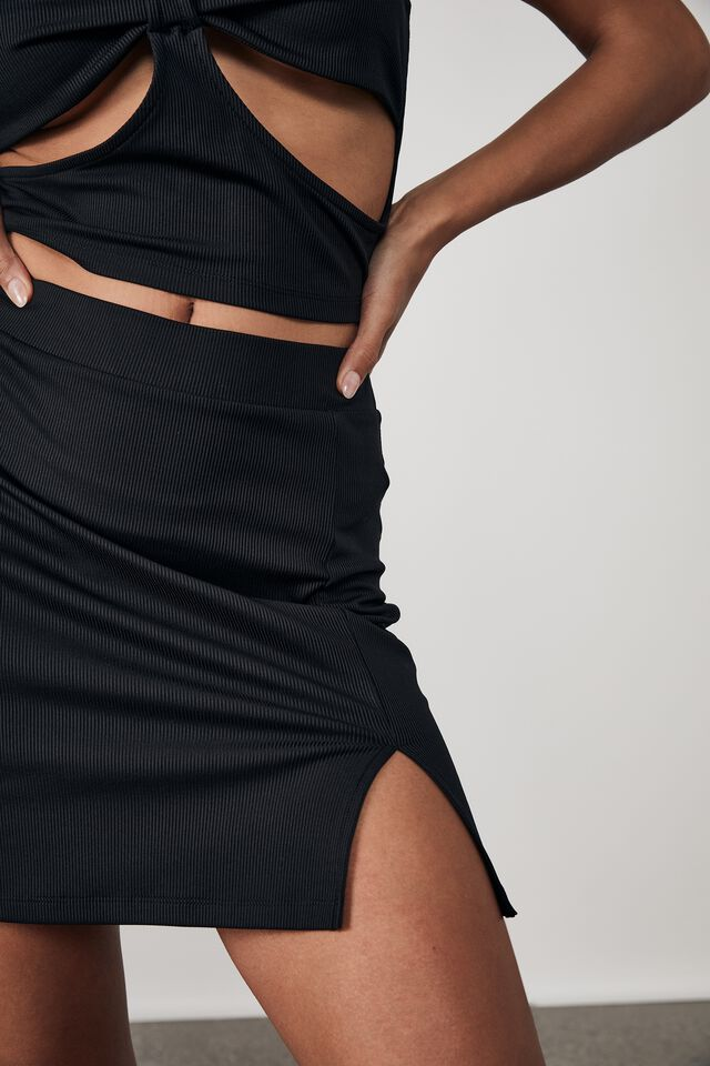 Rib Side Split Mini Skirt, BLACK