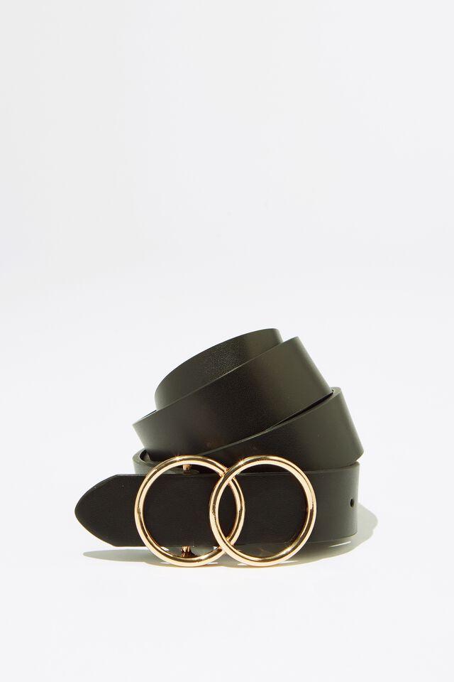 Double Buckle Belt, BLK_ROUND GLD