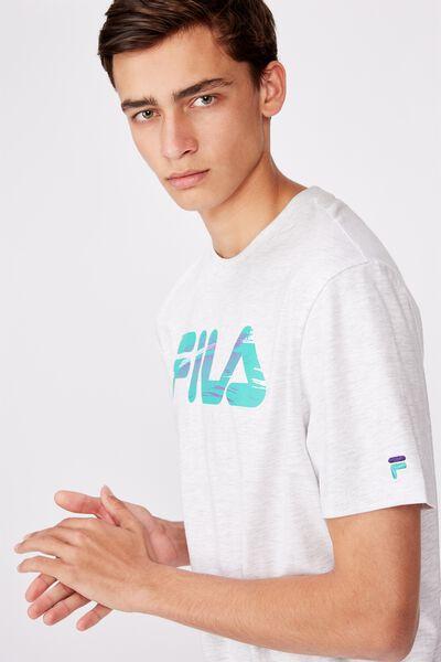 Fila Lcn Regular Graphic T Shirt, SILVER MARLE/BRUSH LOGOTYPE