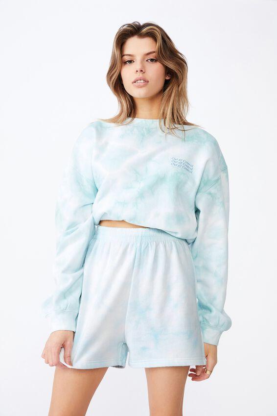 Hype Fleece Short, BLUE TIE DYE