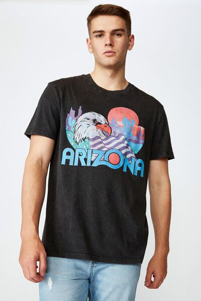 Regular Graphic T Shirt, WASHED BLACK/ARIZONA