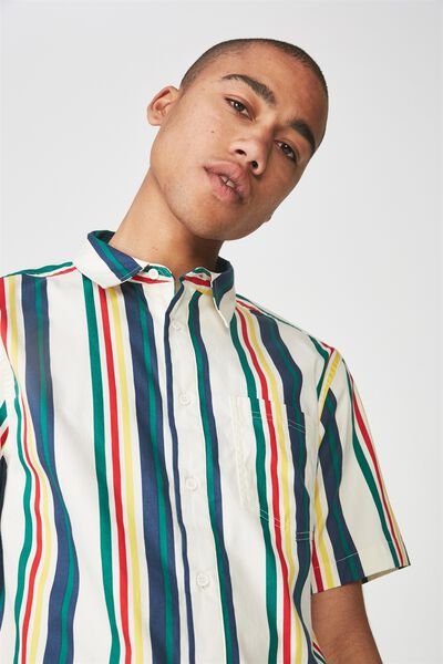 Ss Oversized Shirt, BUTTER STRIPE