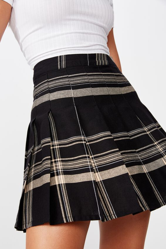 Pleated Skirt, ALIZA BLACK CORAL CHECK