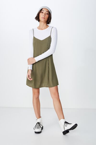 Fit N Flare Dress, WINTER MOSS PINSTRIPE