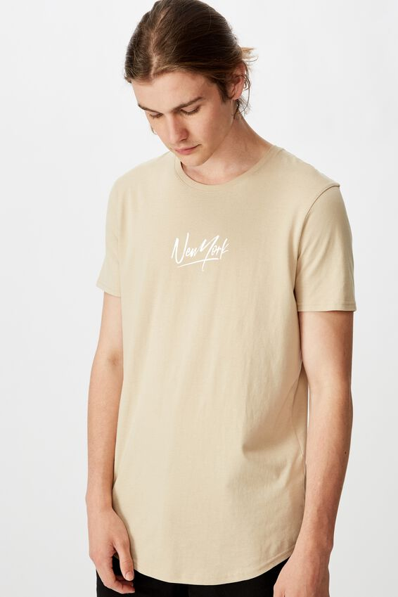 Curved Graphic T Shirt, ALMOND/YORK SCRAWL