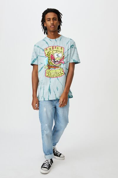 Elevated Regular License T Shirt, TIE DYE/YELLOW HAPPINESS