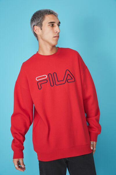 Fila Lcn Oversized Embroidered Crew, RED