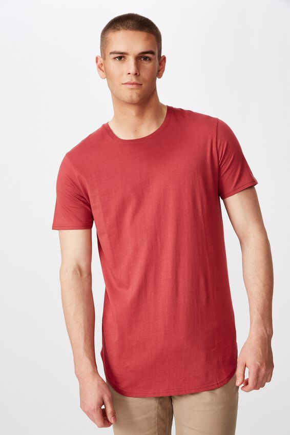 Curved T Shirt, EARTH RED