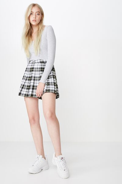 Pleated Skirt, SUBRINA CHECK
