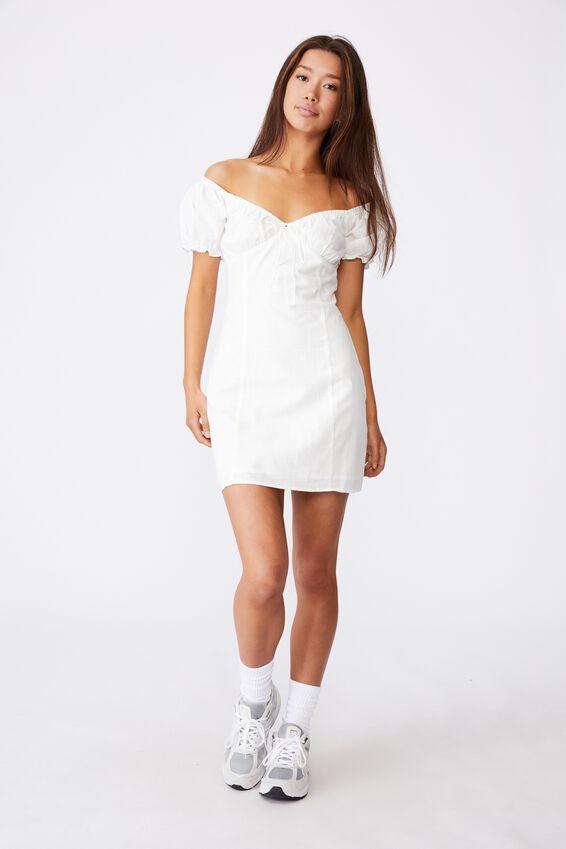 Off Shoulder Dress, WHITE