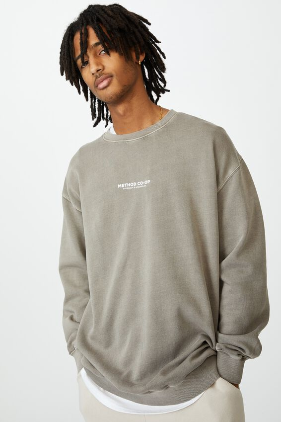 Elite Oversized Crew, WASHED GREY STONE/METHOD