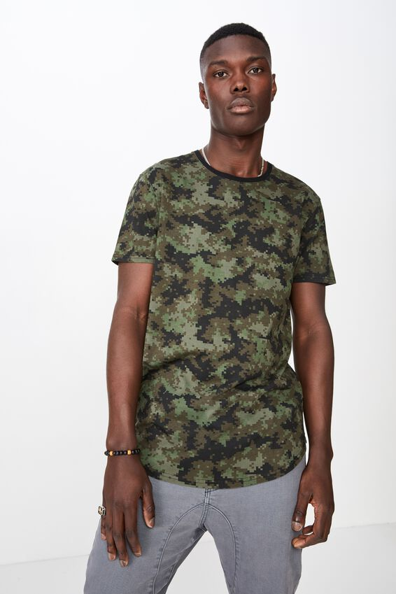 Curved Graphic T Shirt, CAMO