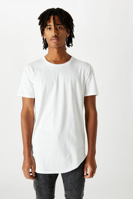 Curved T Shirt, WHITE