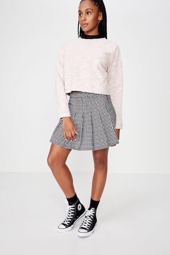 Pleated Skirt, MEADOW CHECK