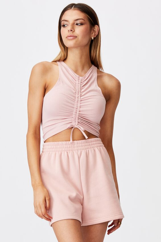 Ruched Front Tank, SILVER PINK