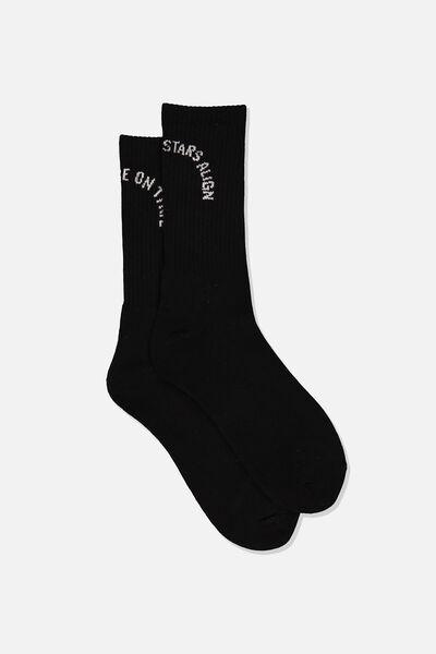 Retro Ribbed Socks, ALIGNED_BLACK