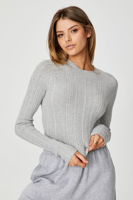 Variegated Rib Knit Long Sleeve Top, GREY MARLE