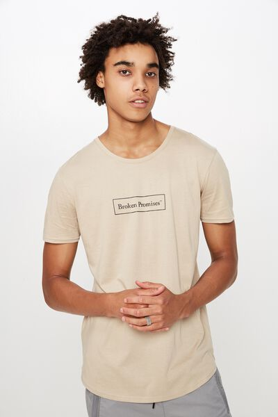 Curved Graphic T Shirt, ALMOND/BROKEN PROMISES