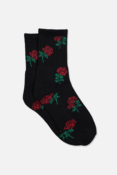 Retro Sport Sock, BLACK_ROSE YARDAGE