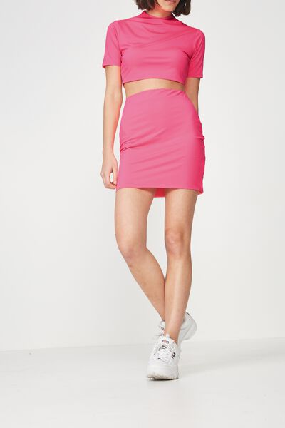 Co Ord Stretch Mini Skirt, NEON PINK