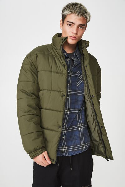 Puffer Jacket, OLIVE NIGHT