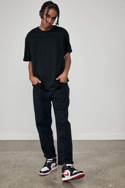 Relaxed Fit Jean, WASHED BLACK