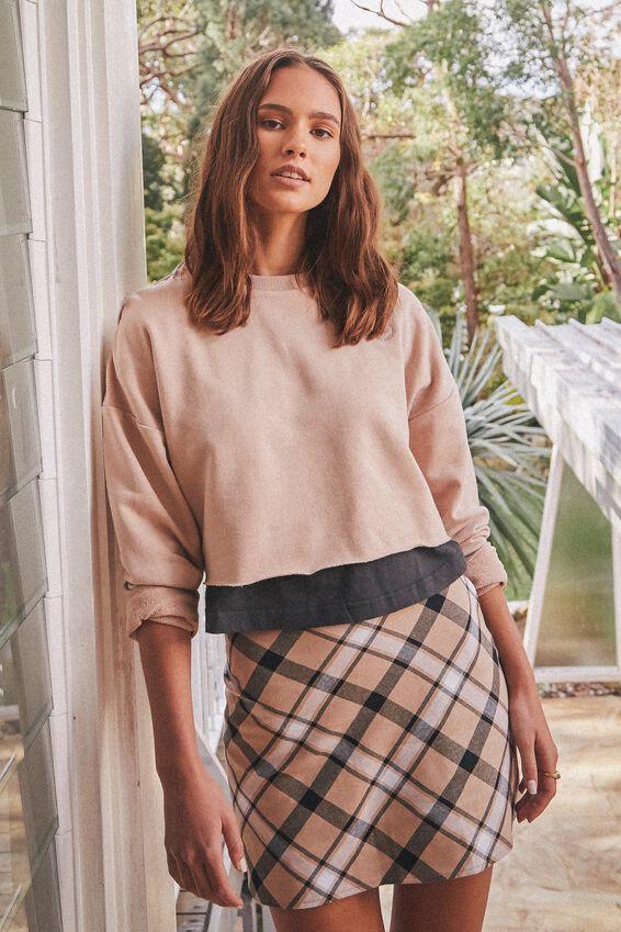 A Line Check Skirt, MARGARET NEUTRAL CHECK