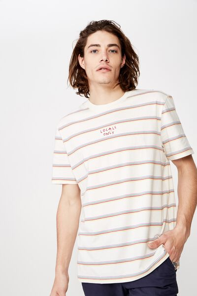 Embroidered Stripe T Shirt, WASHED IVORY/ISLAND STRIPE