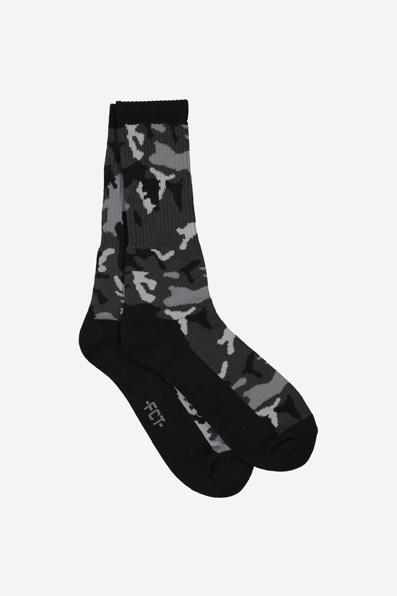 Retro Ribbed Socks, CAMO - MONO