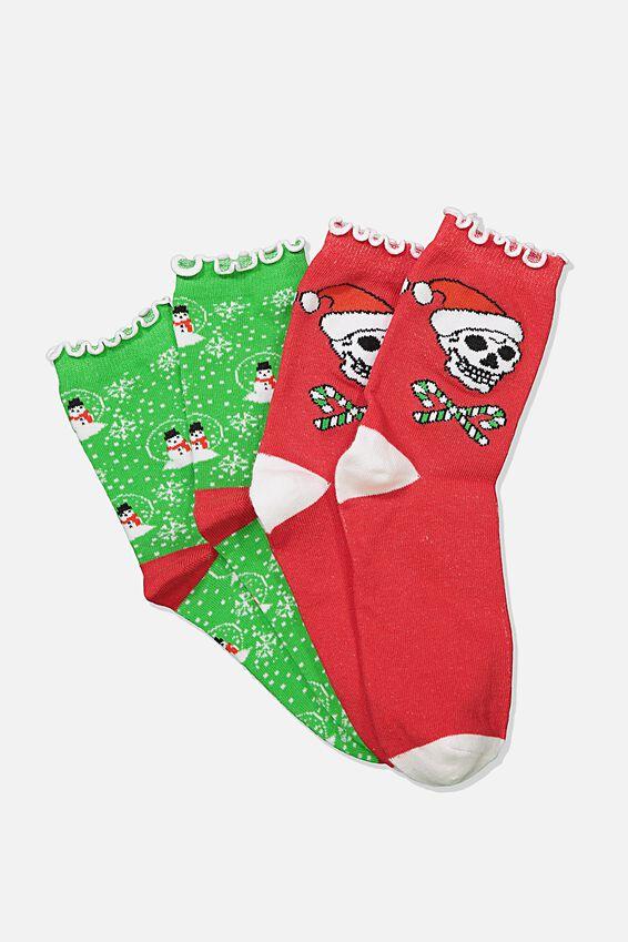 Xmas Gift Pack Socks, CANDY SKULL/SNOWMAN GREEN