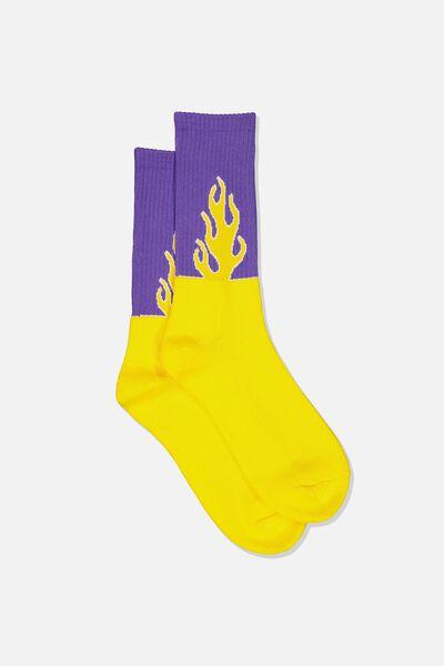 Retro Ribbed Socks, WILDFIRE_PURPLE
