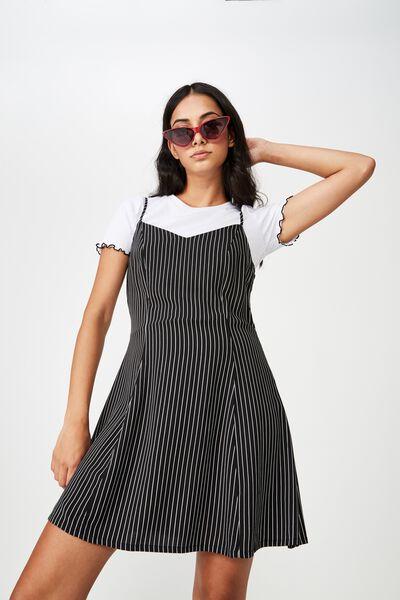 Fit N Flare Dress, BLACK PINSTRIPE