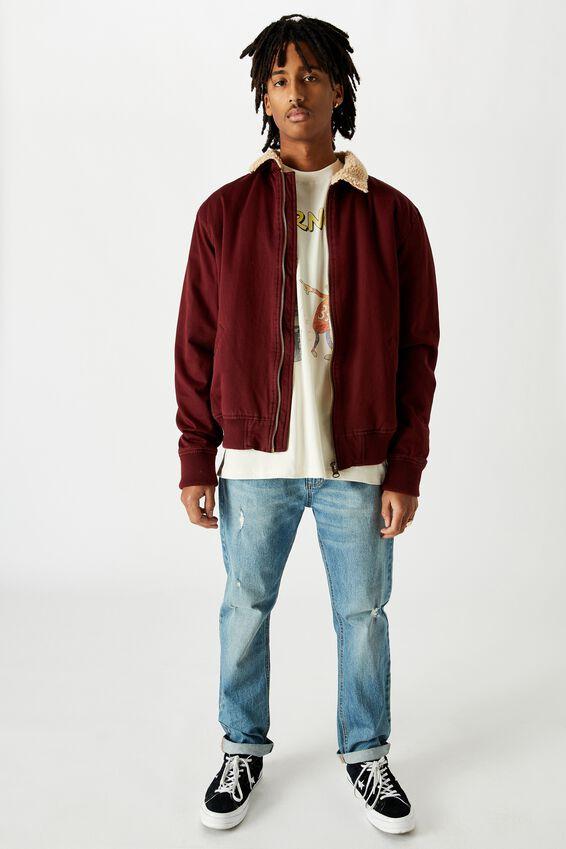 Sherpa Collar Bomber, BURGUNDY