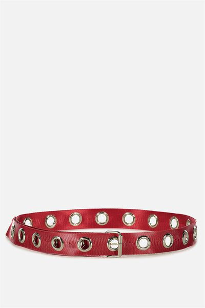 Webbed Eyelet Belt, RED