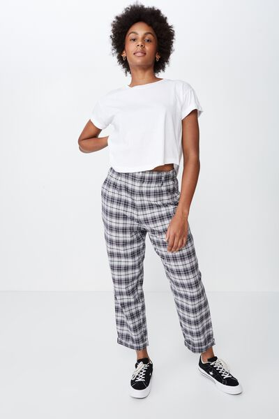 Straight Leg Check Pant, BLK/WHT CHECK