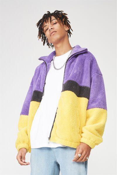 Fuzzy Zip Through Jacket, PURPLE/GREY/YELLOW