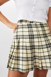 Pleated Skirt, PASTEL YELLOW CHECK